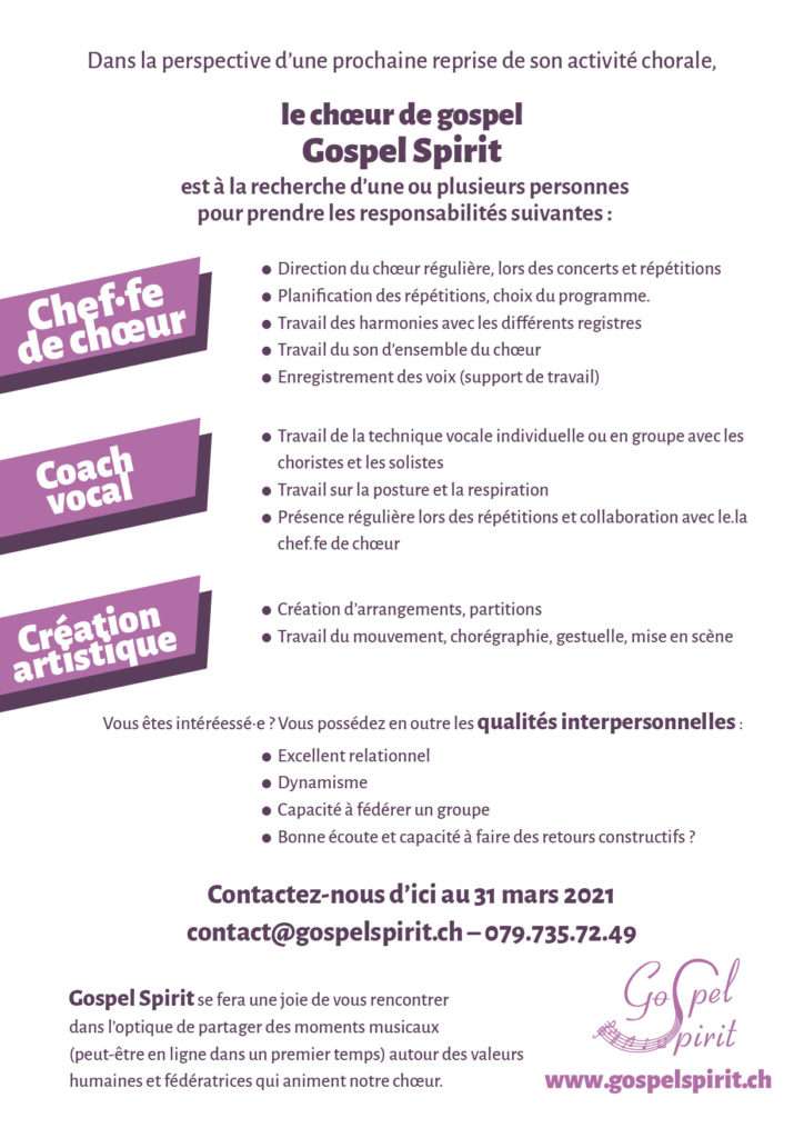 Annonce chef-fe choeur: texte
